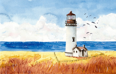 Watercolor picture of a lighthouse in the wheat field with the sea on the background