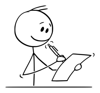 Vector cartoon stick figure drawing conceptual illustration of smiling man or businessman behind desk writing with ballpoint pen on sheet of paper.