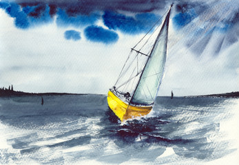 Watercolor picture of a sailing  boat on gray rough sea waves and with dark blue stormy skies