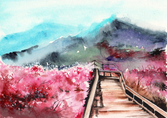 Foto op Plexiglas Lichtroze Watercolor picture of blooming sakura trees, wood bridge and misty distant mountains