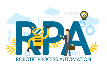 RPA robotic process automation vector isolated illustration