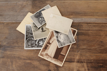 retro some old photos on wooden table