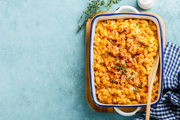 Mac and cheese. traditional american dish macaroni pasta and a cheese sauce Wall mural