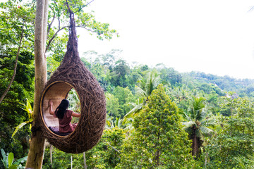 Papiers peints Bali A female tourist is sitting on a large bird nest on a tree at Bali island