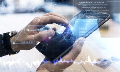 Hands using programming smartphone