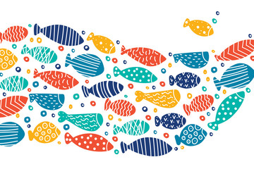 School of fish. Nice decorative illustration.Vector sea poster.