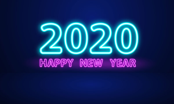 2020 Happy New Year Neon Text.
