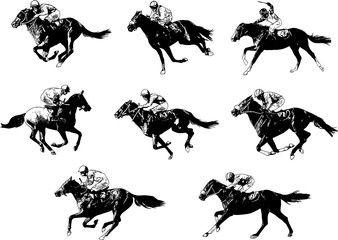 racing horses and jockeys sketch - vector