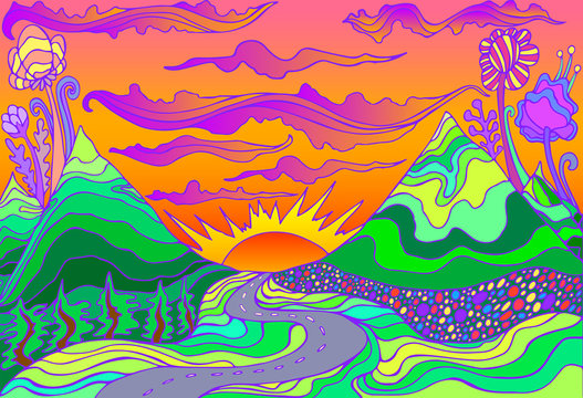 Retro hippie style psychedelic landscape  with mountains, sun and the road going into the sunset.