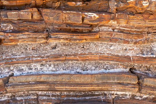 Sediment and rock layers at Karijini National Park in Dales Gorge including natural asbestos