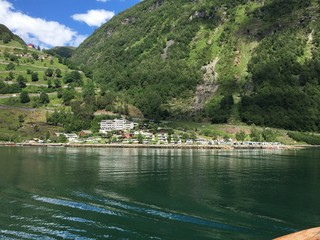 Town of Geiranger with Serpentine Road