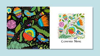 Fotobehang - Greeting card design, floral background