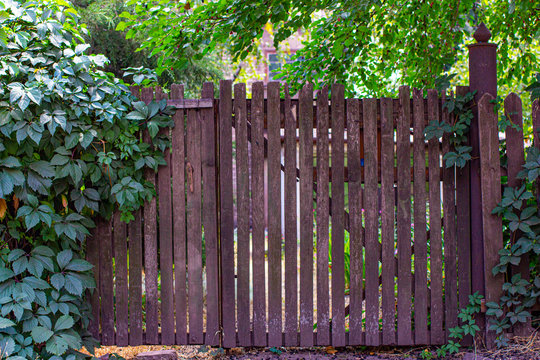 Old fence made of wooden vertical shtaket.