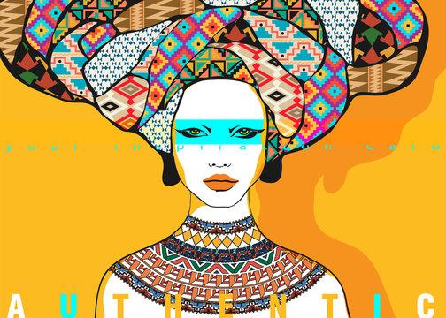 Conceptual fashionable illustration. Female portrait in ethnic style. Graphic art