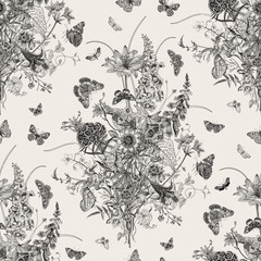 Obraz Seamless vector pattern with Victorian bouquet and butterflies. Garden flowers. Black and white - fototapety do salonu