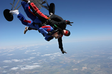 Skydive tandem two friends together