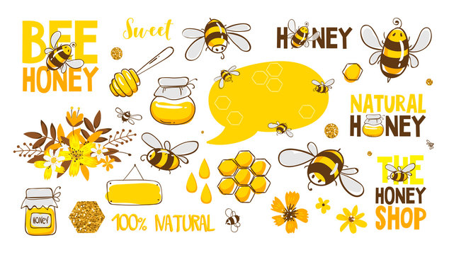Set of bee, honey, lettering and other beekeeping illustration. Vector EPS10.