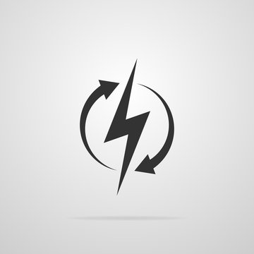 Recharging black icon isolated on gray background. Sign of lightning in a circle with arrows. Vector illustration.