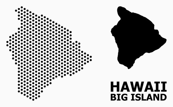 Dot Pattern Map of Hawaii Big Island
