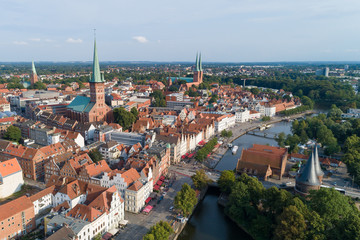 Blick von oben auf den Süden der Lübecker Altstadt