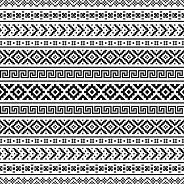 Ikat aztec ethnic pattern in black and white color. Indoan, Native, Navajo, Inca design