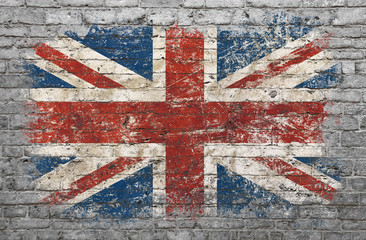 Flag of Britain painted on brick wall
