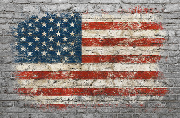 Poster de jardin Graffiti Flag of USA painted on brick wall