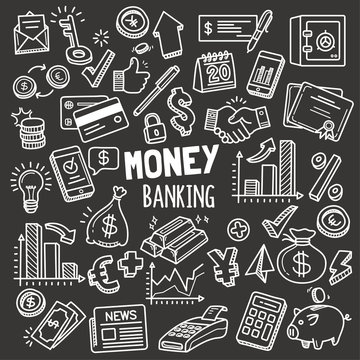 Money and Banking Design elements. Vector Doodle Illustration Set in Blackboard Chalk Style.