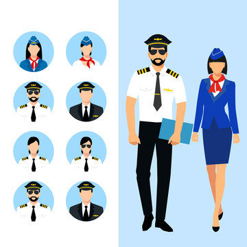 Illustration of stewardess dressed in blue uniform. Flight attendant and a pilot isolated. vector illustration. Pilot and stewardess icons vector