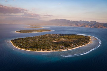 Lombok, Indonesia, Aerial View of the Gili Islands at Sunset