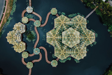 Bangkok, Thailand, Top-Down View of Pavilion of the Enlightened at Ancient Siam