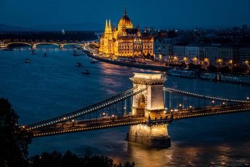 Budapest, Hungary, View of the Parliament Building and Szechenyi Chain Bridge Over the Danube River at Dusk