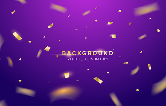 Abstract background. Party, Celebration or special birthday background with golden shiny glitters or ribbon falling in gradient background. Creative and Modern design in EPS10 vector illustration.