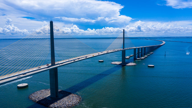 Sunshine Skyway bridge drone view looking south to Manatee county