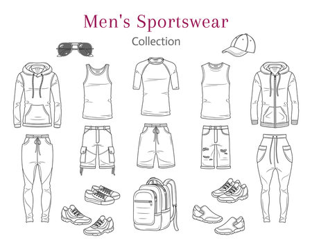 Men's Sportswear Collection. Sport clothes, hoodie, t shirts, sweet pants, shorts, sneakers , baseball cap, vector sketch illustration, isolated on white background.