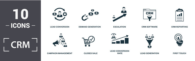 Crm icon set. Contain filled flat campaign management, closed sale, crm reporting, crm software, demand generation, escalation, lead conversion, lead conversion rate icons. Editable format