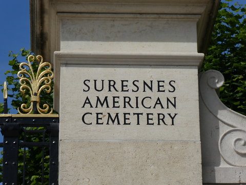 Inscription on a pillar at the entrance to the American Cemetery and Memorial of Suresnes, France, 2019