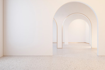 White interior with archs and terrazzo floor. 3d render illustration mock up Wall mural
