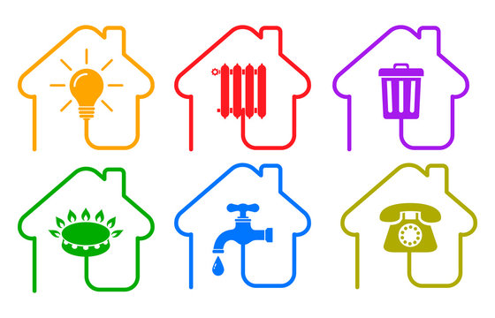 Utilities icons in flat style: water, gas, lighting, heating, phone, waste – stock vector