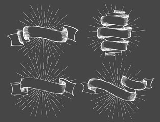 Ribbons banners set Hand Drawn. Vector illustration.