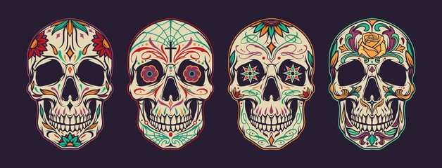Vintage colorful mexican sugar skulls collection