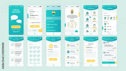 Set of UI, UX, GUI screens Social Network app flat design