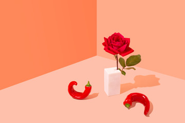 Single Red Rose with Chillis, Conceptual Studio Shot
