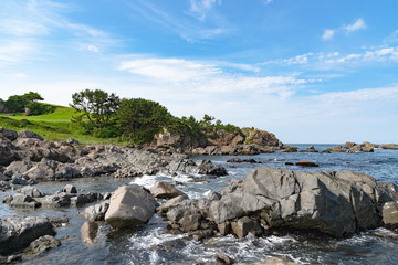 Beautiful Tanesashi kaigan Coast. The coastline includes both sandy and rocky beaches, and grassy...