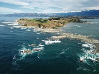 Aerial view Kaikoura Peninsula & coast, Kaikoura, New Zealand