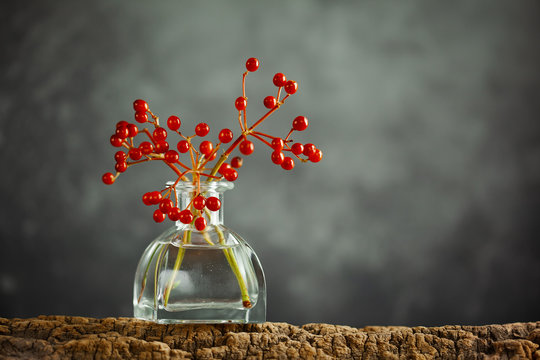 Beautiful autumn red berries in glass bottle on wood  at bokeh background, front view. Autumn still life with berries.