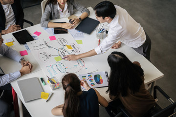 Asian business people team meeting in modern office design planning ideas concept
