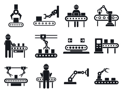 Assembly line icons set. Simple set of assembly line vector icons for web design on white background