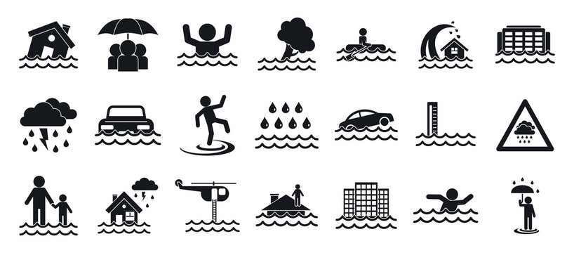 Flood icons set. Simple set of flood vector icons for web design on white background