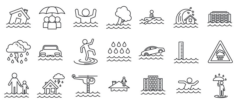 Flood cataclysm icons set. Outline set of flood cataclysm vector icons for web design isolated on white background